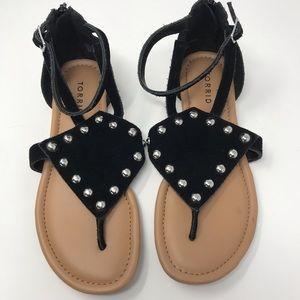 Torrid Black Suede Stud Flat Sandal Size 8
